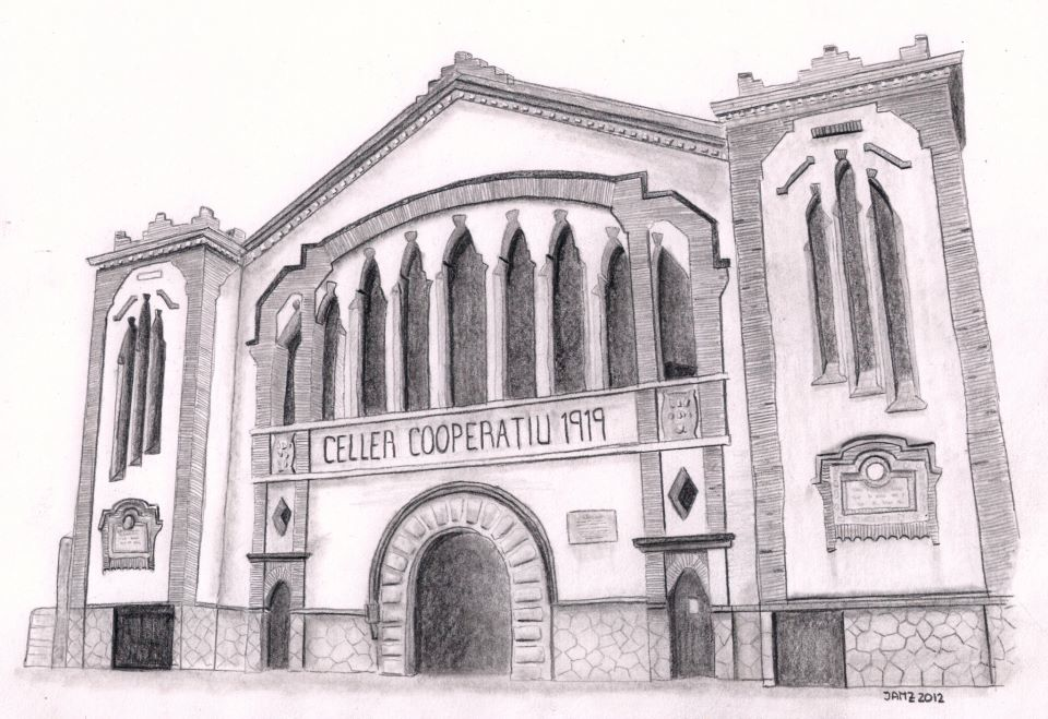 un dibujo a lápiz especial con unas cuantas horas de trabajo detrás. cooperativa de Falset en el Priorat