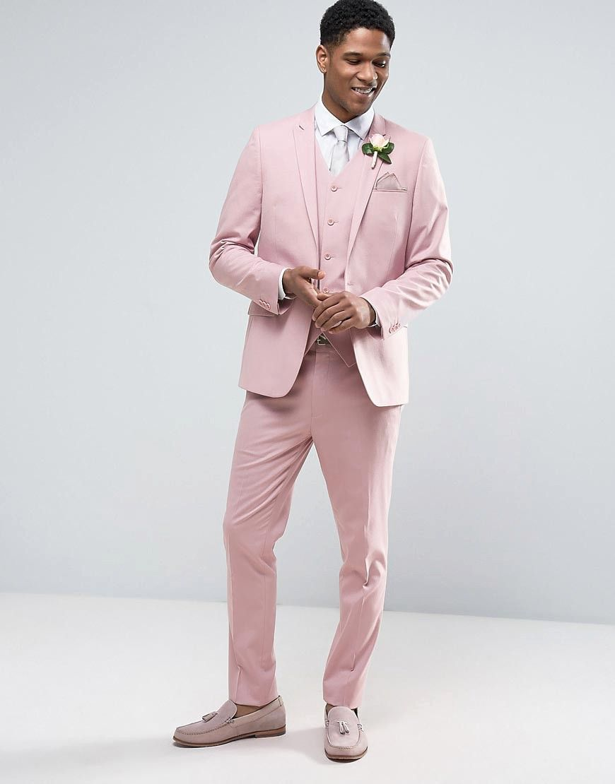 How to Wear a Bold Colored Suit on Your Wedding Day | Dusky pink ...