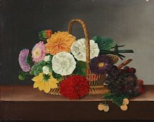 I. L. Jensen, school, 19th century: Colourfull flowers and grapes at a basket. Unsigned. Oil on cavnas. 37 x 46 cm.