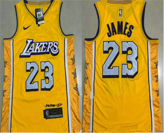 2020 Men S Los Angeles Lakers 23 Lebron James Yellow Nike City Edition Au All Stitched Jersey In 2020 Los Angeles Lakers Lebron James Lakers