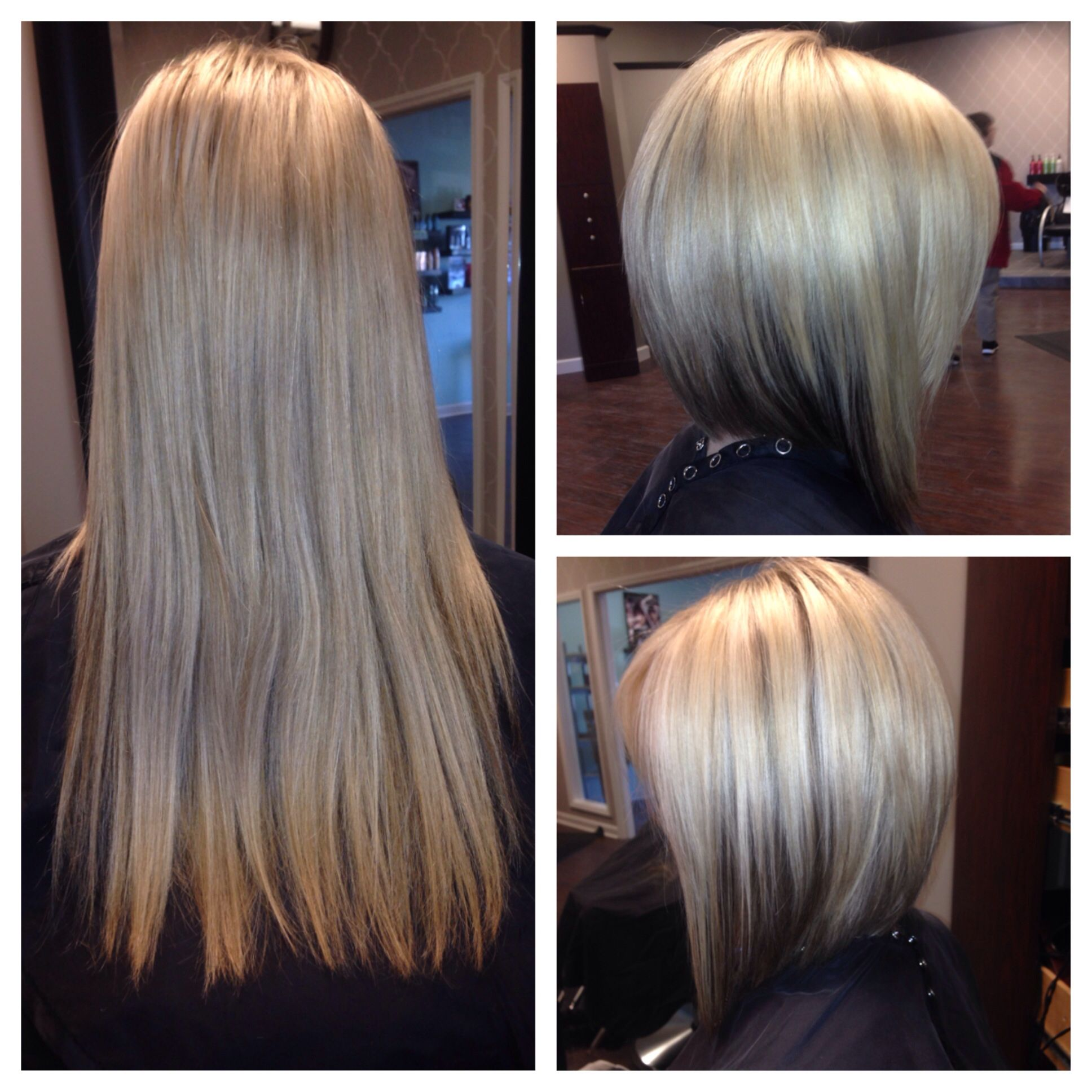 Before and after haircut Gorgeous Inverted bob