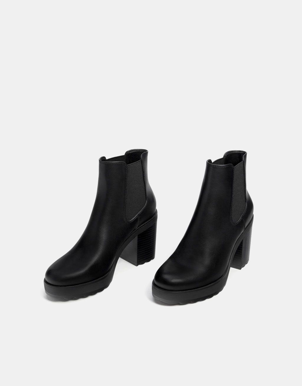 3984de7f0 Rastezljive čizmice na platformu i petu | Zapatos | Zapatos bershka ...