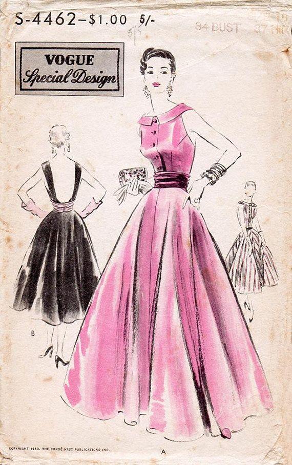1950s Stunning Evening Dress Pattern Vogue Special Design S-4462 ...