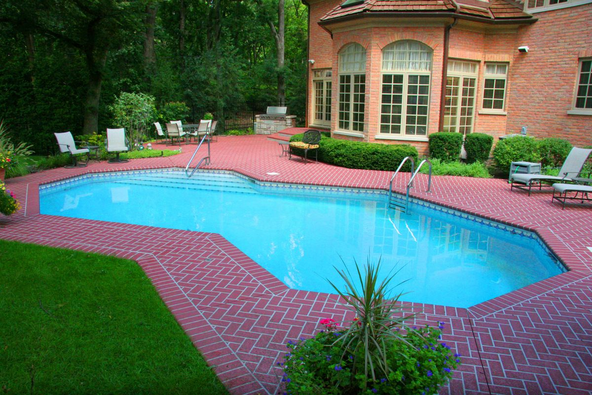 check out the beautiful pattern on this pool deck you can have a