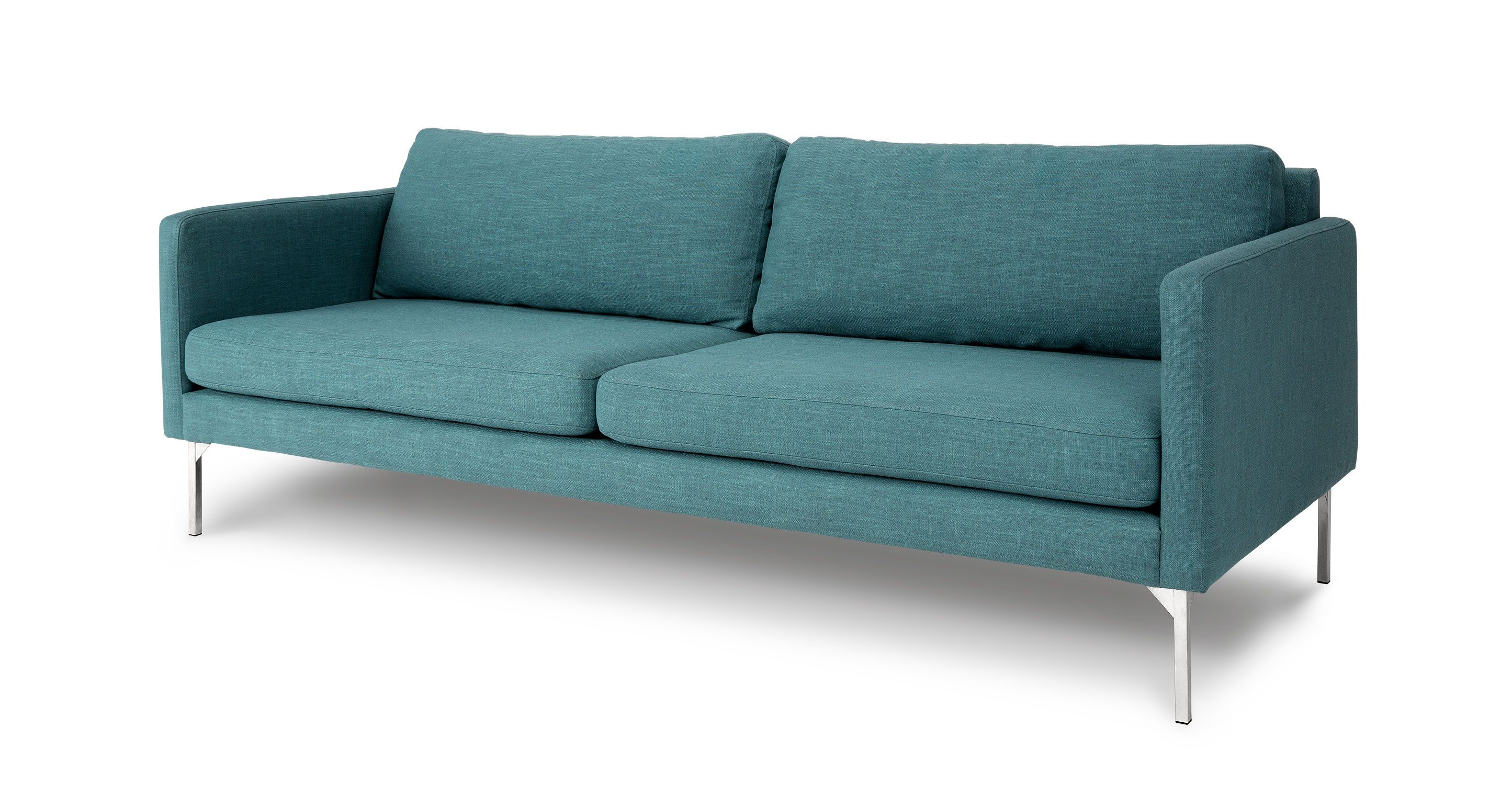 Blue Sofa 3 Seater With Steel Legs