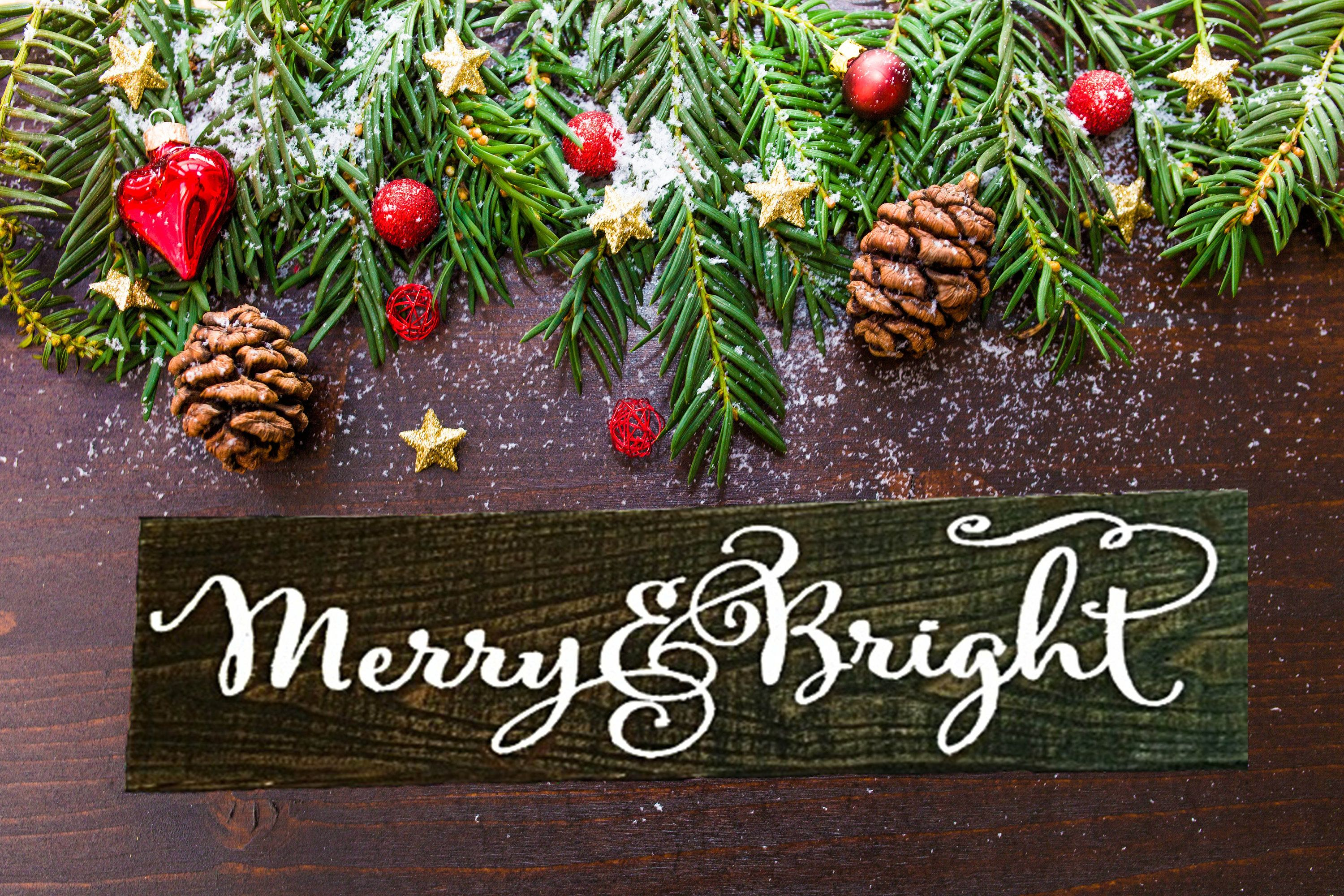 Merry And Bright Sign Holiday Wood Sign Winter Signs Wood