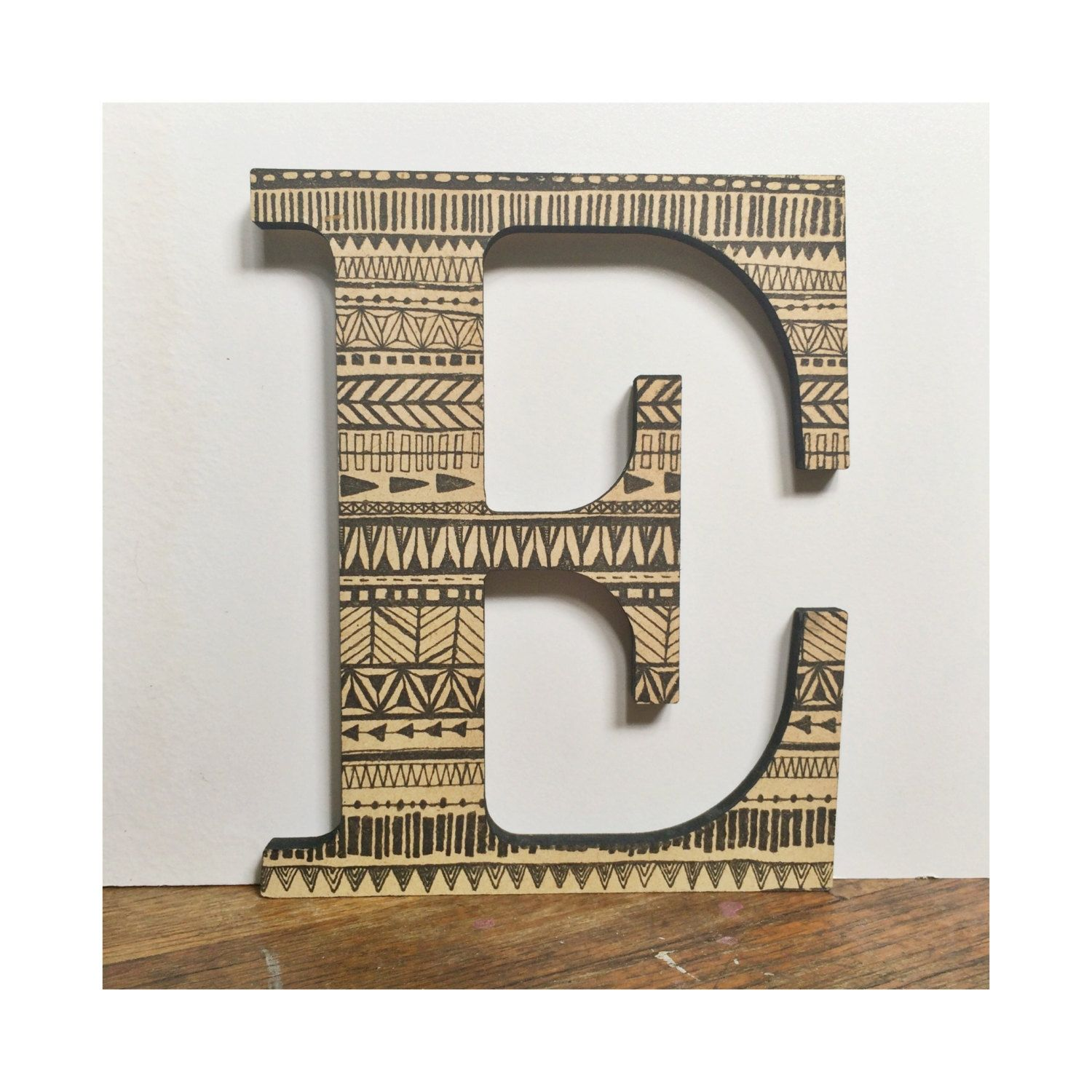 Decorative Wall Letter E Wood Tribal Geometric Pattern Print Home Decor Gallery Wall Nursery By Missouriheartsco