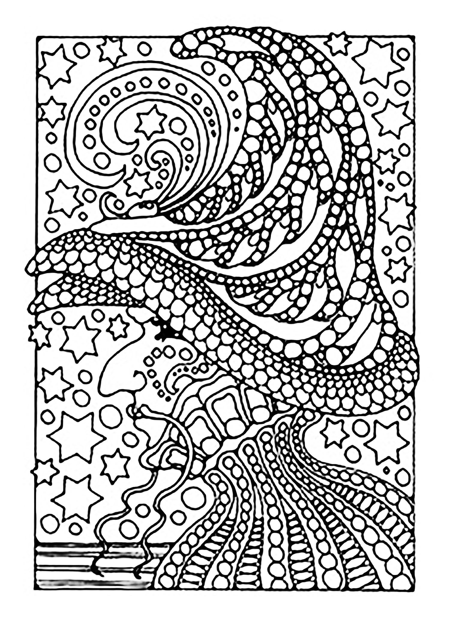 Adult Halloween Witch And Stars Coloring Pages Printable Book To Print For Free Find More Online Kids Adults Of