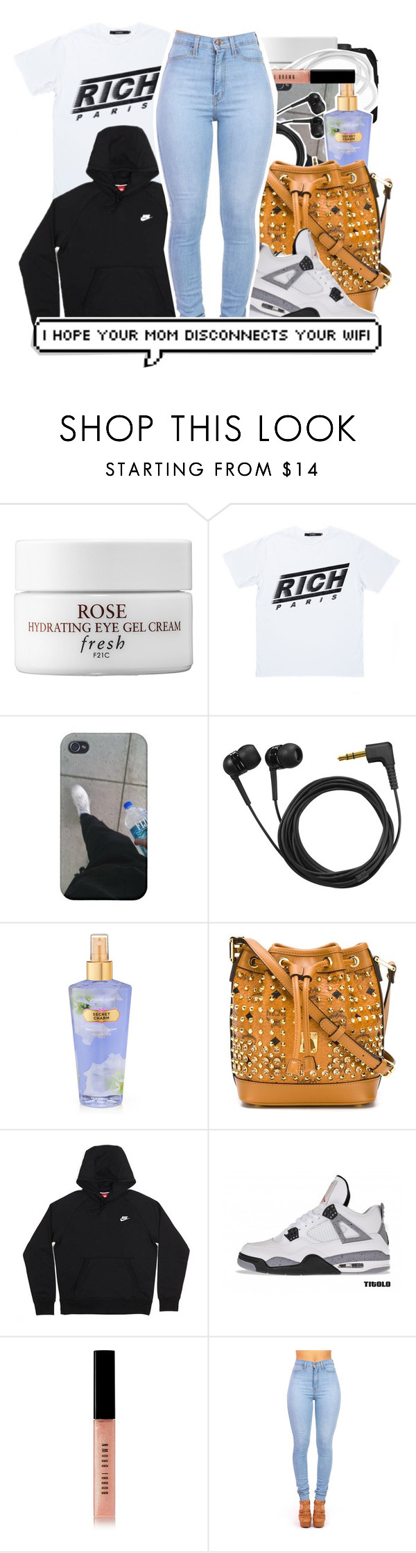 """RICH ."" by prvncessbeautifulmee ❤ liked on Polyvore featuring CO, Fresh, Joyrich, Sennheiser, Victoria's Secret, MCM, NIKE, Retrò and Bobbi Brown Cosmetics"