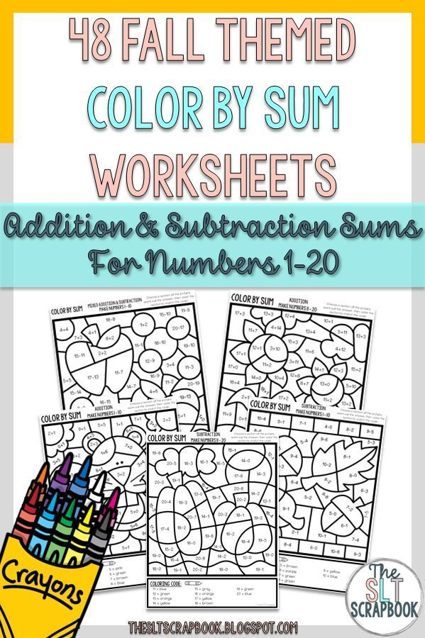 Color by Numbers- Addition and Subtraction 1-20 - Fall themed. NO ...