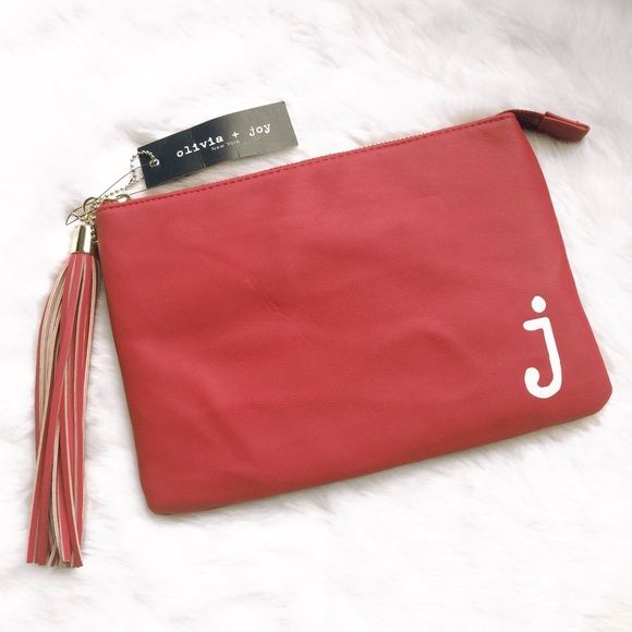 "Red Fringe Faux Leather ""j"" Clutch / Make Up Bag Brand new Olivia + Joy soft faux butter leather clutch / make up bag. This bag is initialed with the letter ""j"" and I also have an ""a"" and ""c"" available in my closet. Gold hardware with one pocket inside. Fringe tassel that is very durable! Measurements 10.5"" x 7"". Please ask if you have any questions. Bundle and Save❣ Olivia + Joy Bags Clutches & Wristlets"