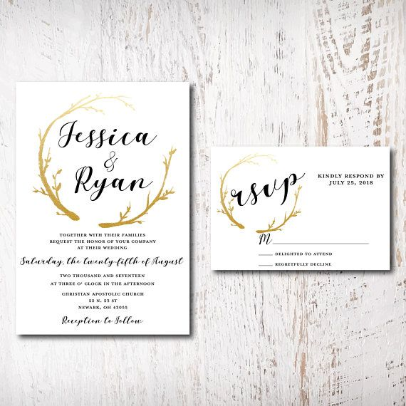 Elegant Gold Wedding Invitations Wedding Invitation Set Gold Gold