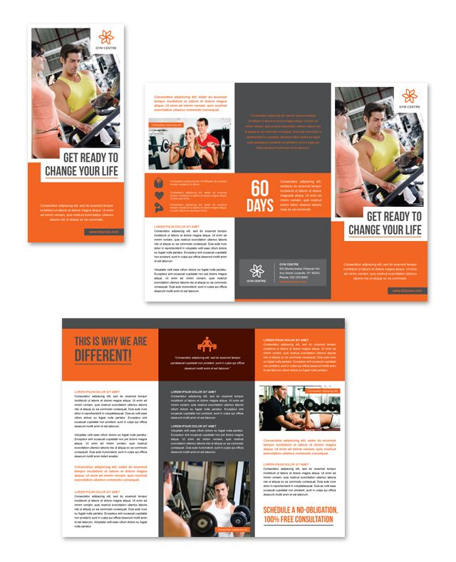 Gym Centre Tri Fold Brochure Template Http://Www.Dlayouts.Com