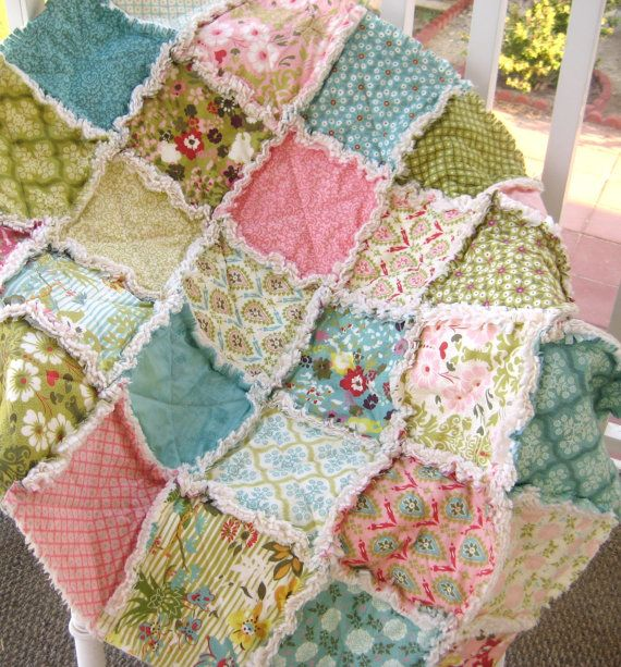 Baby Rag Quilt Crib Size Shabby Modern Hello by PeppersAttic ... : patchwork quilt blanket - Adamdwight.com
