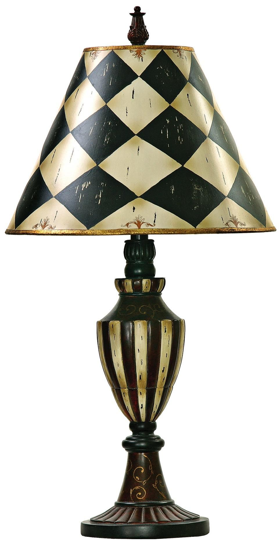 76f74e5a639 Harlequin and Stripe Black and Antique White Urn Table Lamp ...