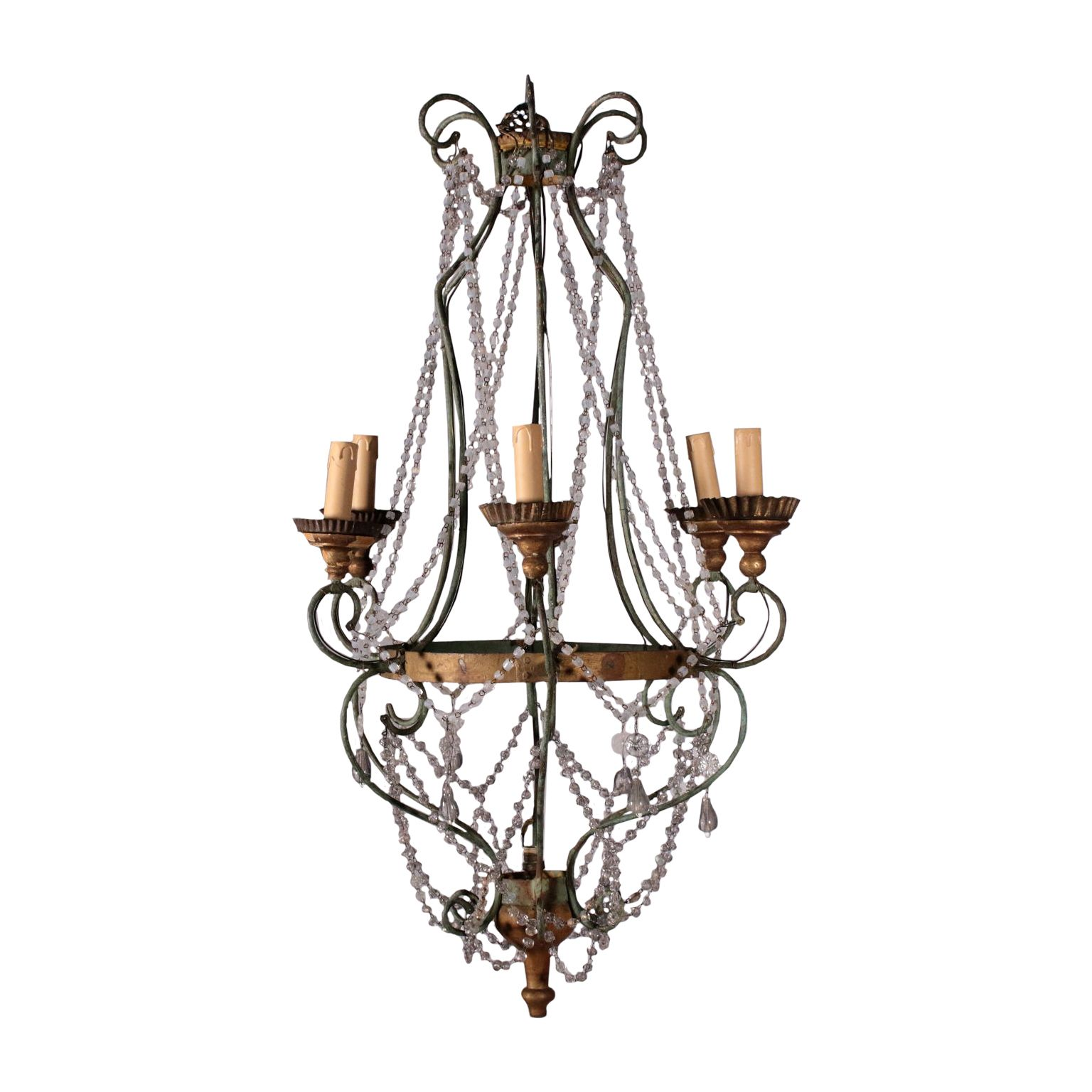 Chandelier Wrought Iron And Glass Italy 19th Century Antike