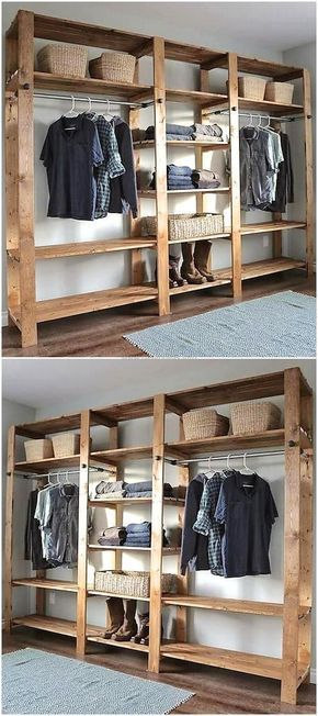 Pallets wooden closet for the home pinterest armario for Reciclado de placares