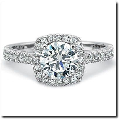 Great Halo Engagement Ring With Flush Setting