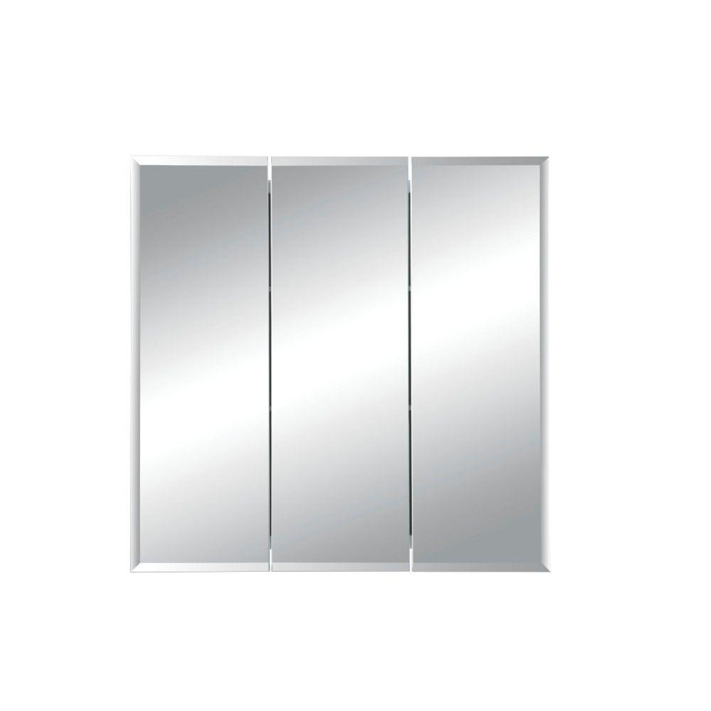 Jensen Horizon 24 In X 24 In X 5 In Frameless Recessed Bathroom Medicine Cabinet With Beveled Mirror In White 255024x The Home Depot Recessed Medicine Cabinet Recessed Cabinet Beveled Mirror