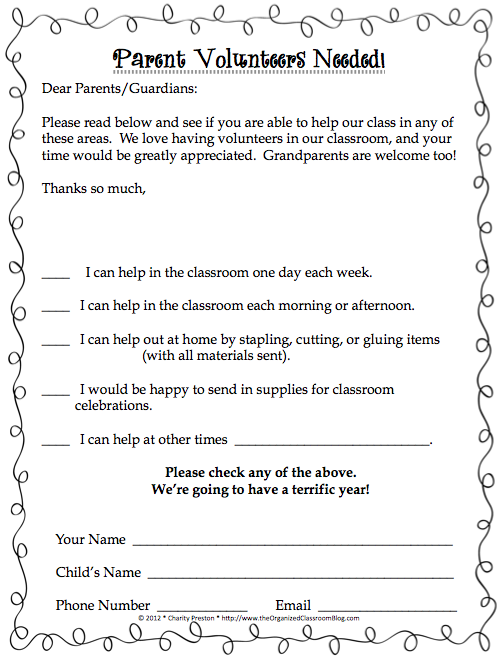 Black And White Theme Parent Volunteer Request Form Perfect For
