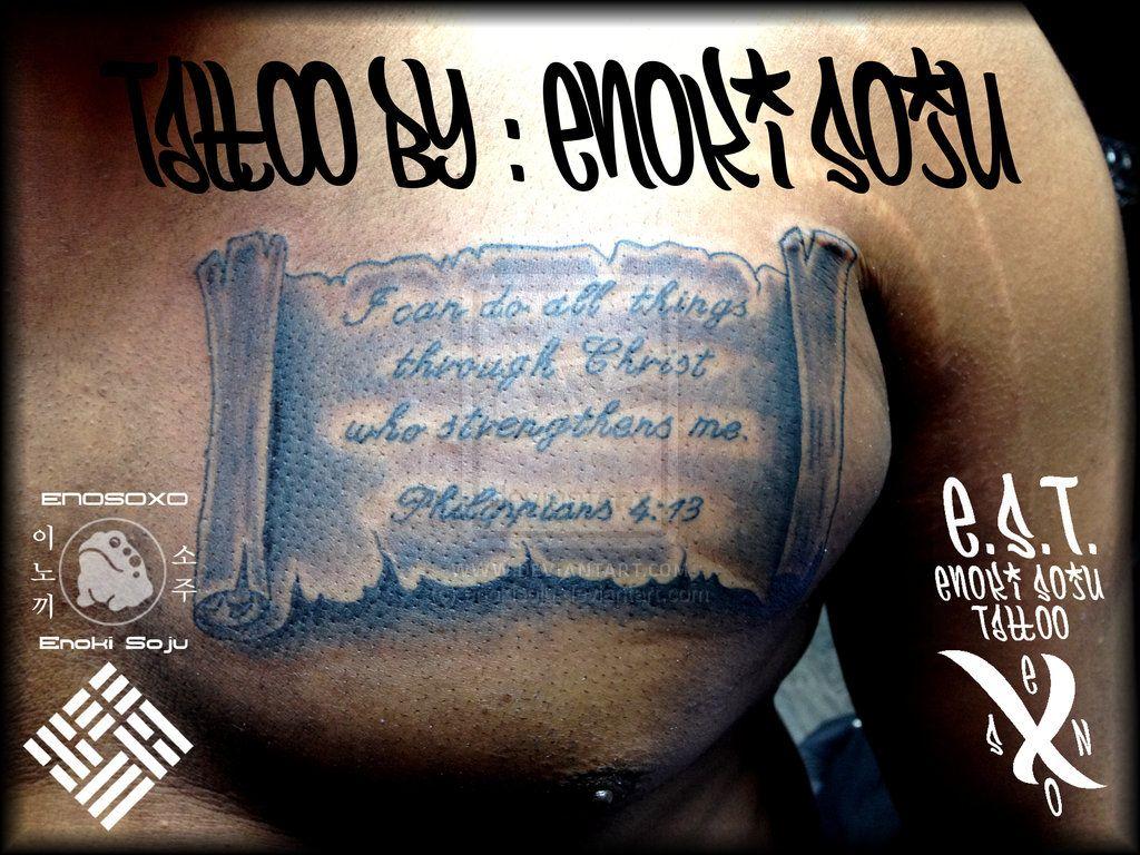 Scripture and Scroll Tattoo by Enoki Soju by enokisoju.deviantart.com on @deviantART