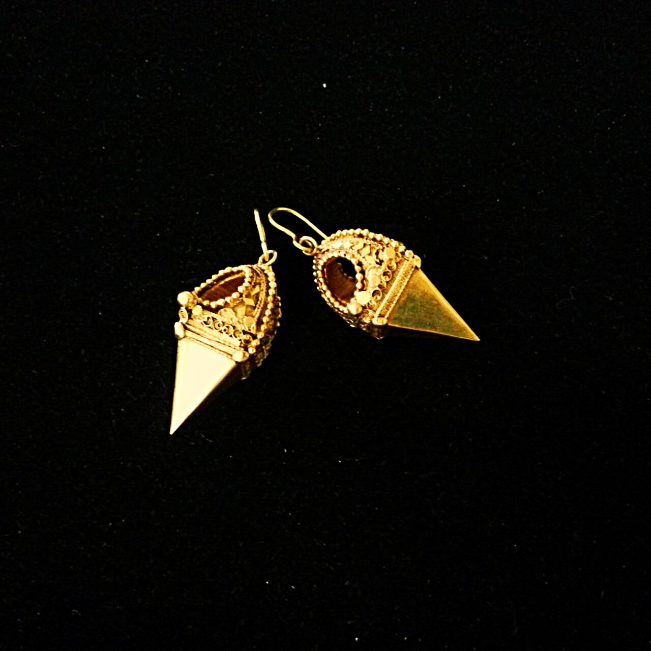 South India, Tamil Nadu, Kerala, 19th century Gold Earrings : worn by Muslim women in the Cochin Division