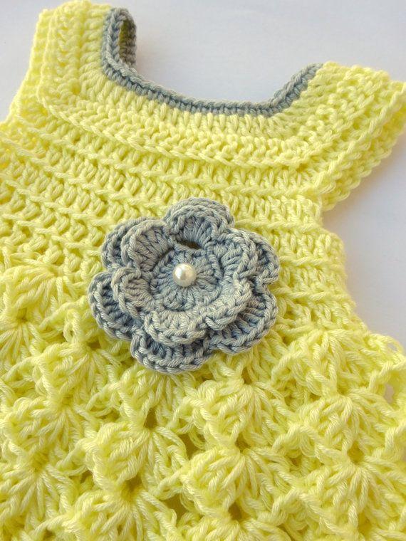 Vestido y pañales cubierta en crochet-Ideal para regalos de ...