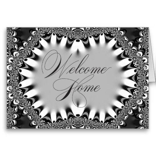 Tribal Batik Lace Black & Silver Welcome Home Card