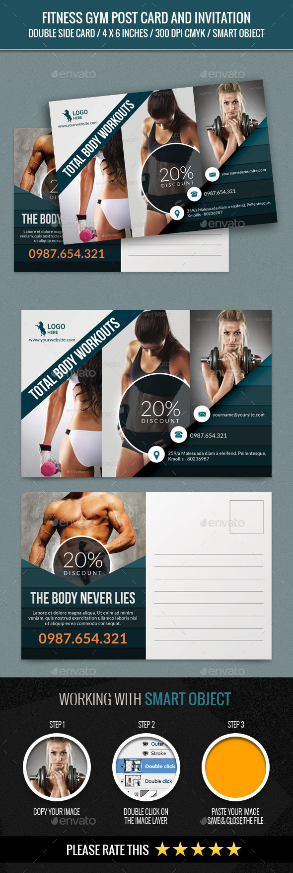 Fitness and GYM Post Card Template #design Download: http://graphicriver.net/item/fitness-and-gym-post-card-template/12613442?ref=ksioks