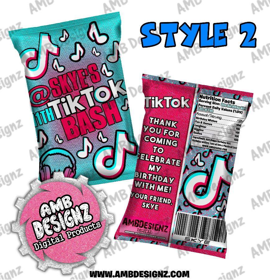 Tik Tok Chip Bag Favor Tik Tok Party Supplies Digitalproducts Party Supplies Birthday Party Supplies Birthday Party Themes