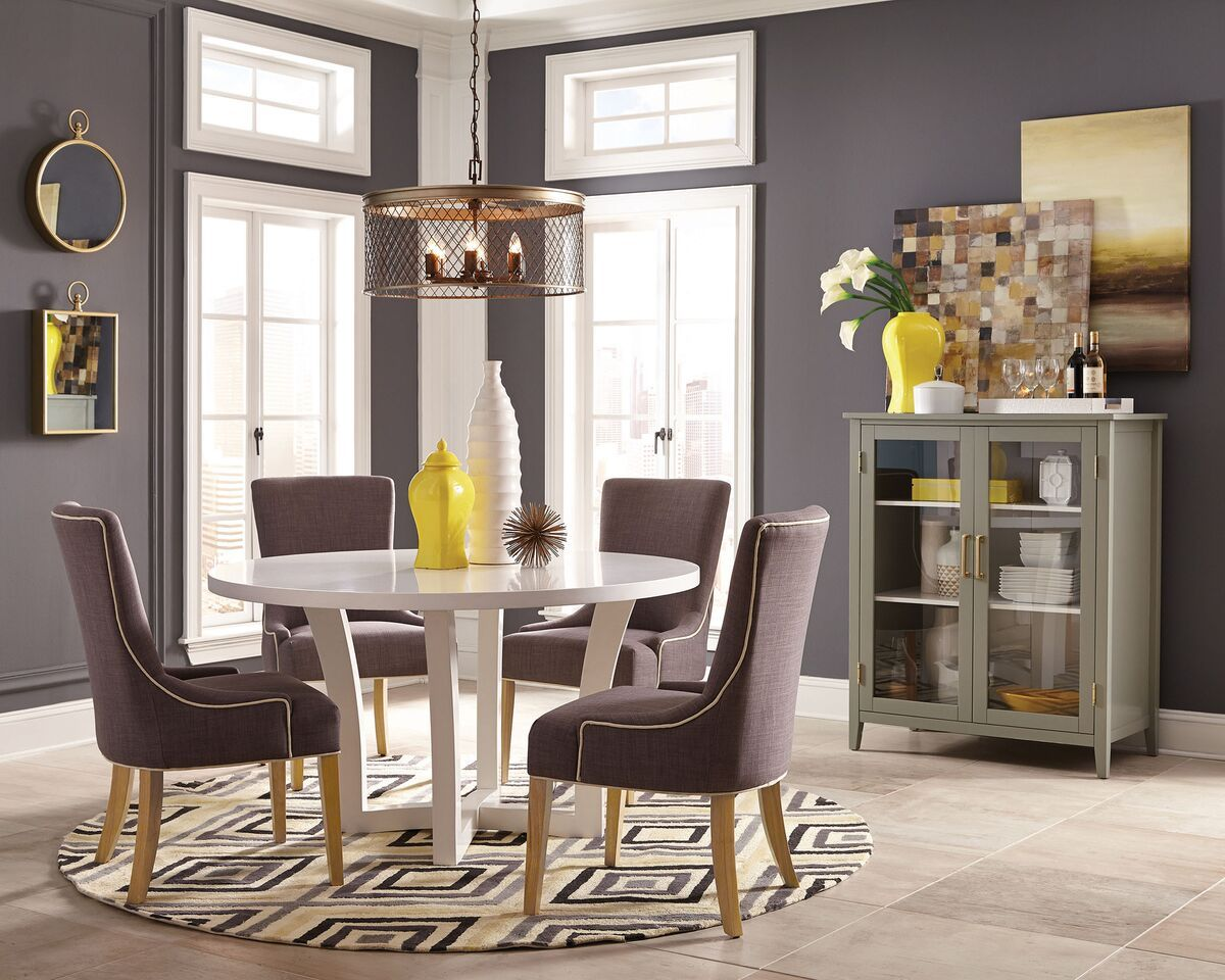 Donny Osmond Home Caprice White City Chic Modern Dining Set
