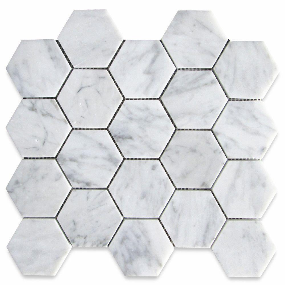 Carrara White 3 Inch Hexagon Mosaic Tile Polished Marble From Italy In 2020 Hexagon Mosaic Tile Mosaic Tiles Carrara