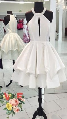2bab565239 Cute ball Gown white Short Homecoming Dress cute cocktail dresses sweet 16  gowns