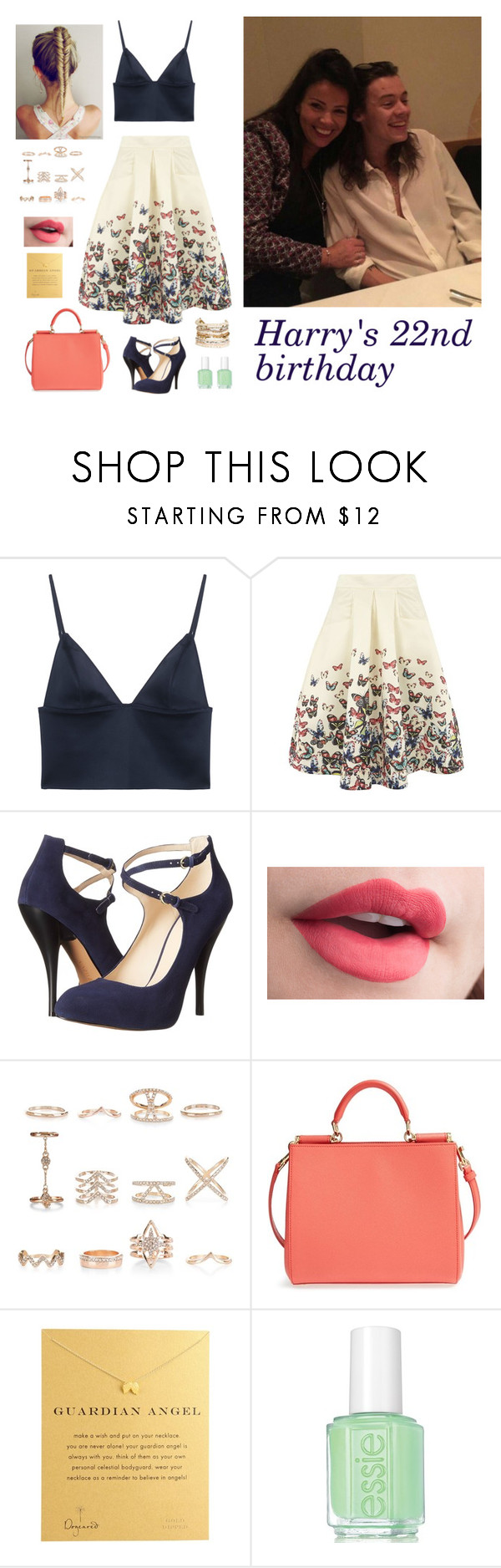 """Harry's 22nd birthday"" by hazzabum ❤ liked on Polyvore featuring T By Alexander Wang, Jolie Moi, Nine West, New Look, Dolce&Gabbana, Dogeared, Essie, Panacea and harrystyles"