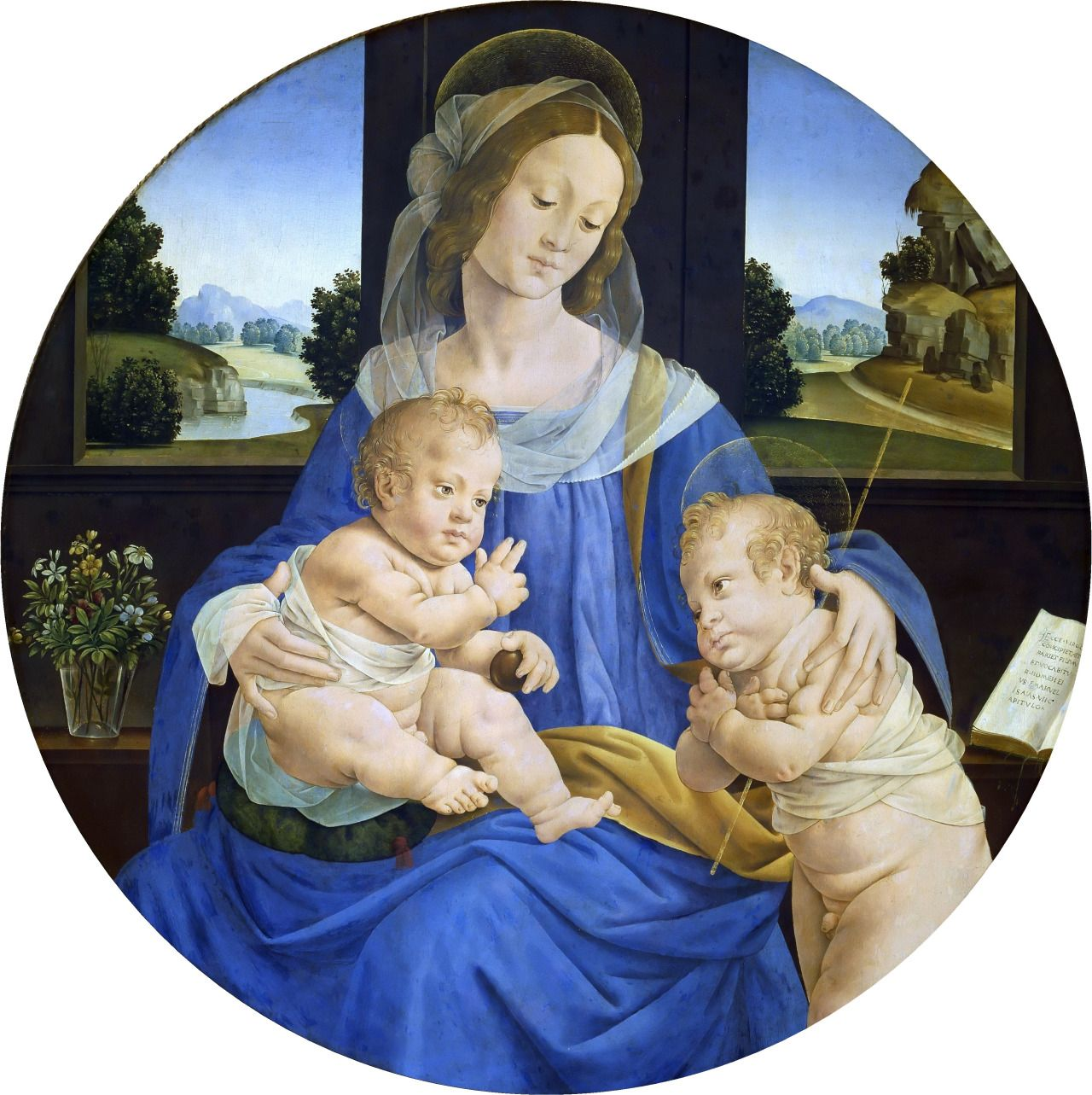 An analysis of the painting madonna adoring the child with the infant saint john the baptist and an