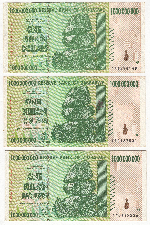 2008 Zimbabwe One Billion Dollar Notes X3 Bank Pennies2pounds