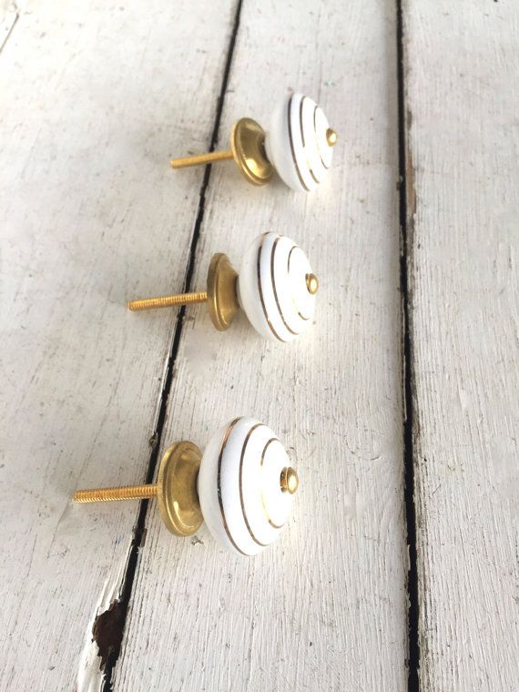 White And Gold Decor, Gold Accents, Home Decor, Vintage Style Decor, Gold  And White Knobs, Accents, Decorative Knobs, Dresser Drawer Knobs
