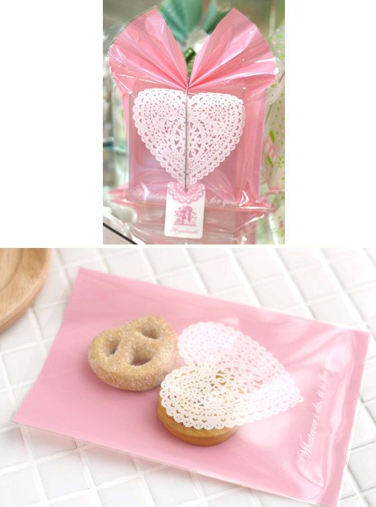 Pink Heart Doily Cellophane Bags (20 bags). $3.50, via Etsy.