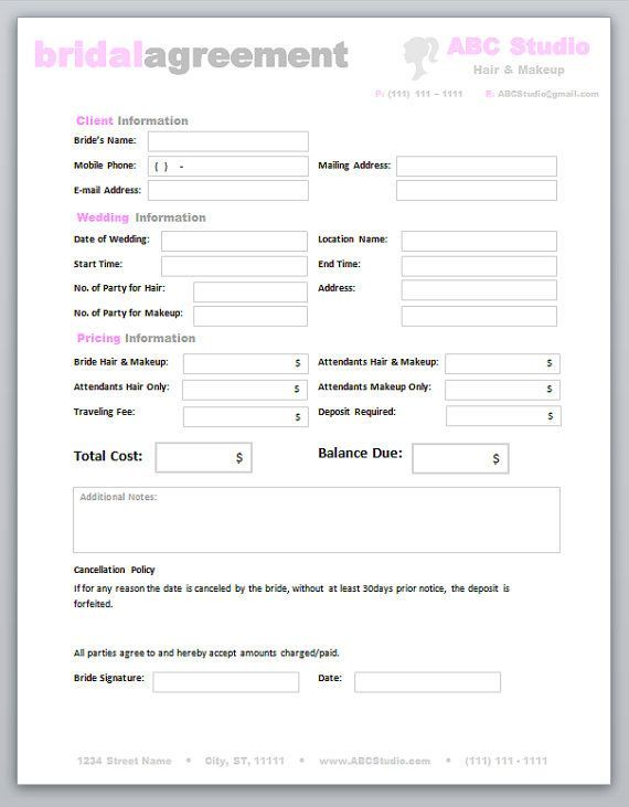 Freelance Hair Stylist \ Makeup Artist Bridal Agreement Contract - resume for hairstylist