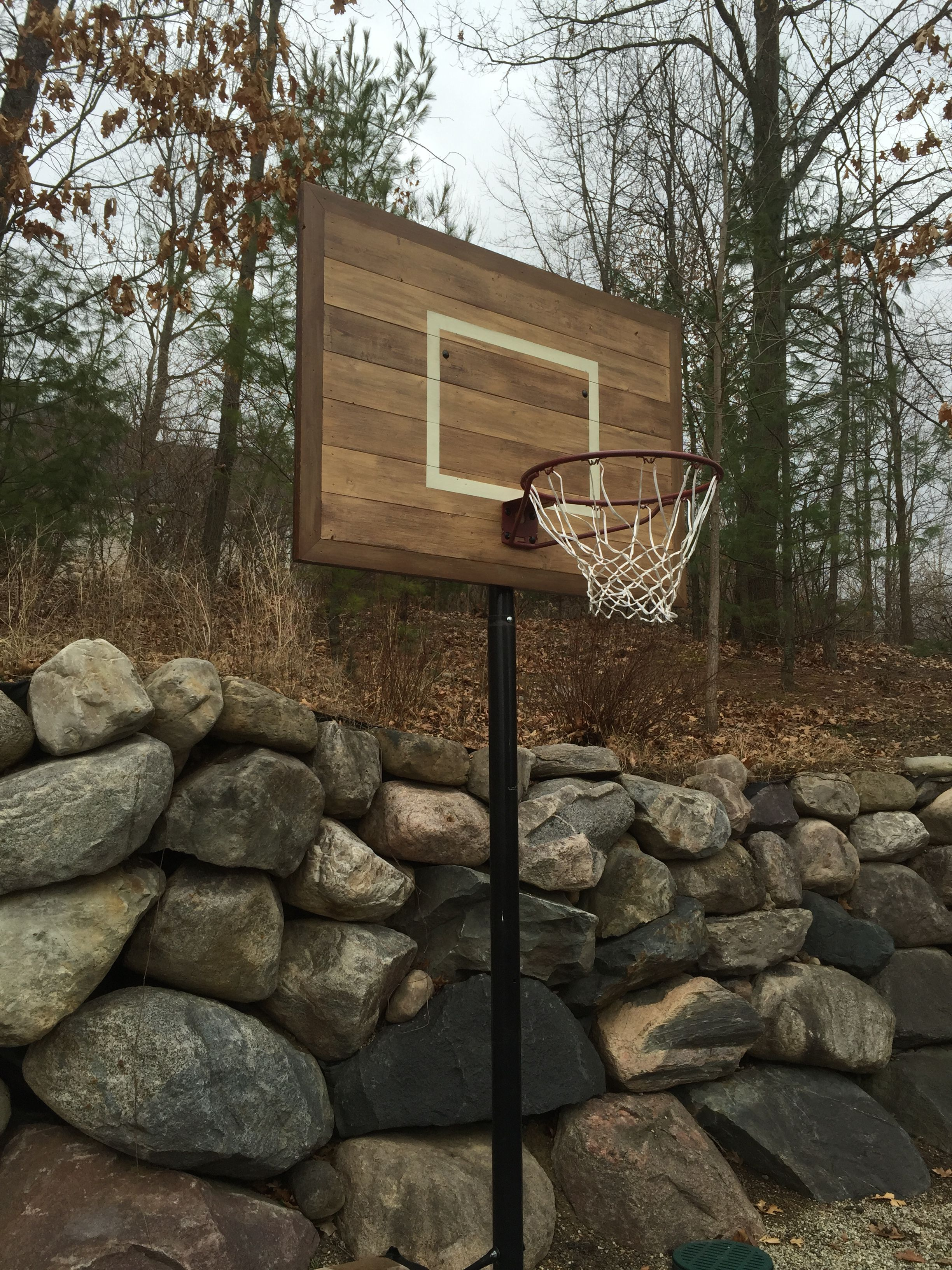 Old School Basketball Hoop Made With New Pine Wood Boards