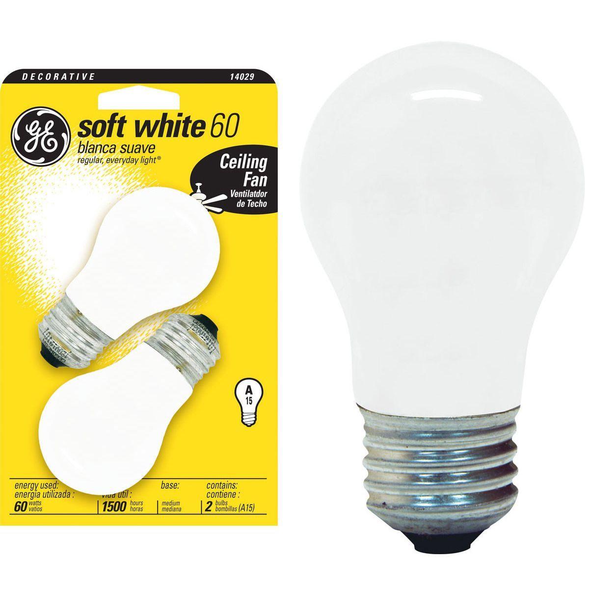 GE Lighting 14029 60 Watt Soft White Incandescent Light Bulb 2-count