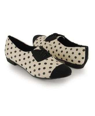 $24.80 - Forever21 - These vintage inspired oxfords feature polka dots and contrast trimming. Pointed toe. Lace up front. Thick flat heel. Top stitch details. Padded insole. Textured outsole.
