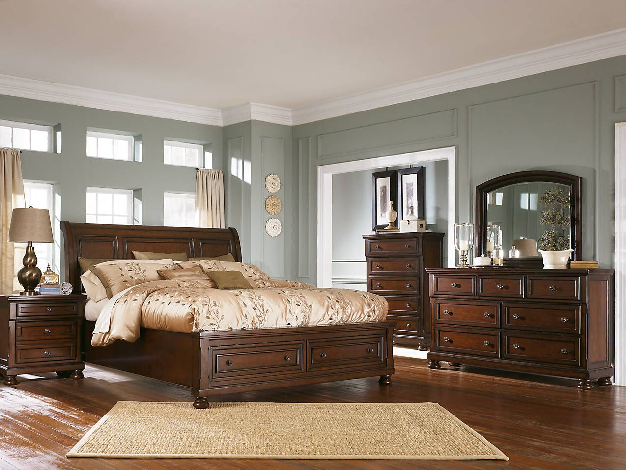 Porter traditional dark wood sleigh bed frame and matching furniture ...