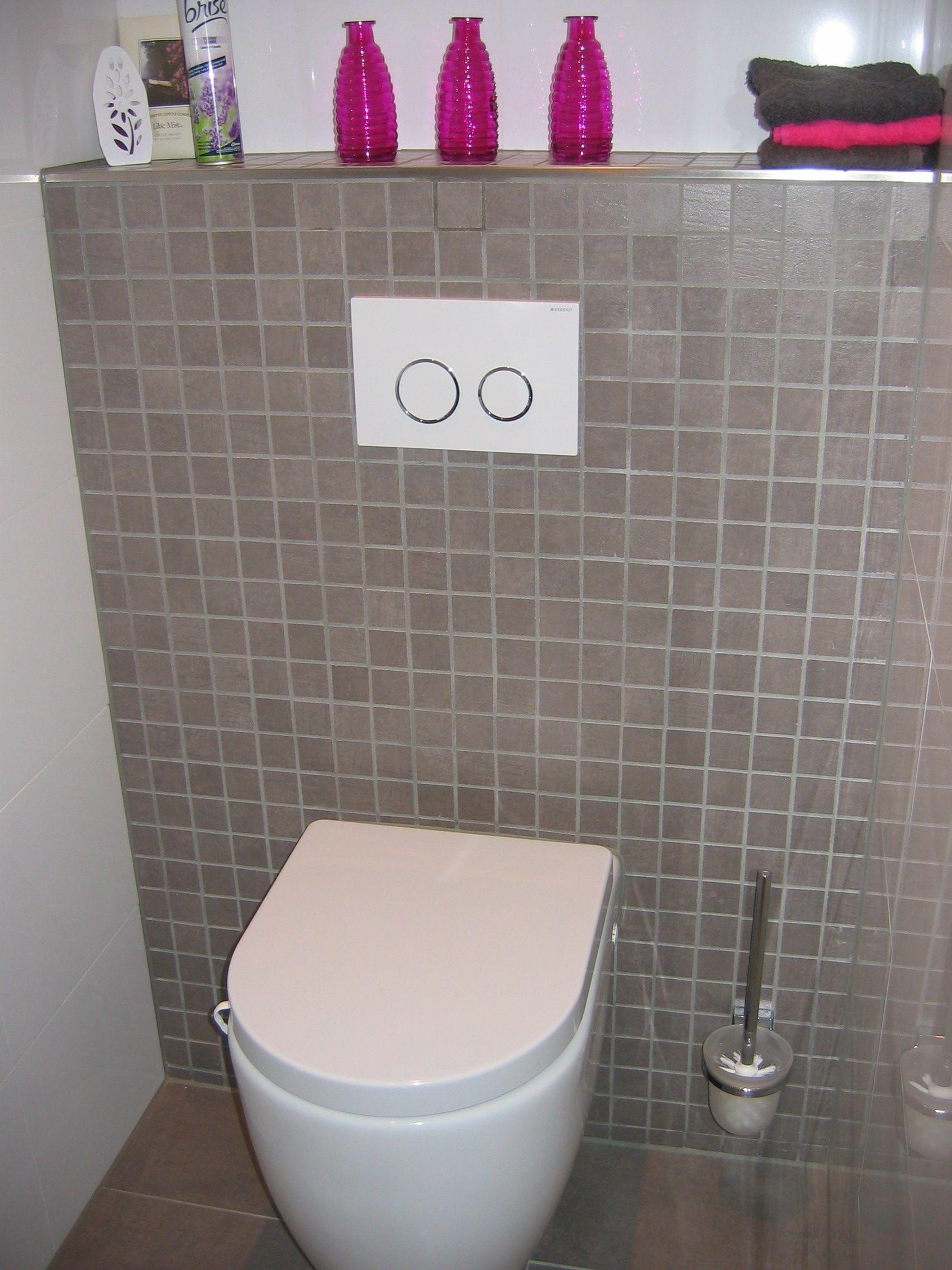 Voorzetwand toilet grijs mozaiek 5x5, passend bij de vloertegels ...