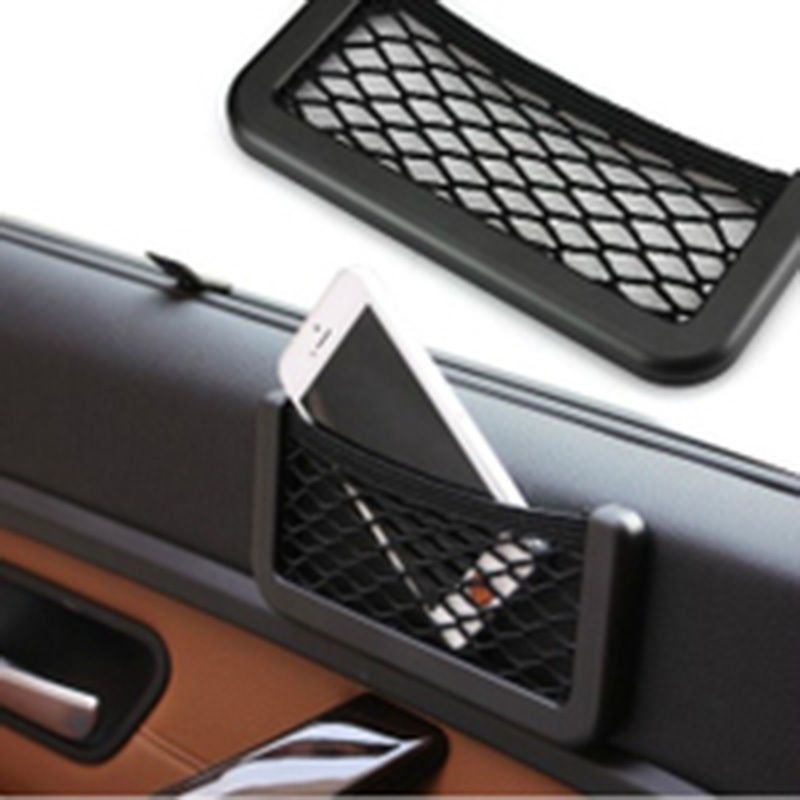 2× Car Storage Mesh Net Resilient String Phone GPS Bag Holder Organizer