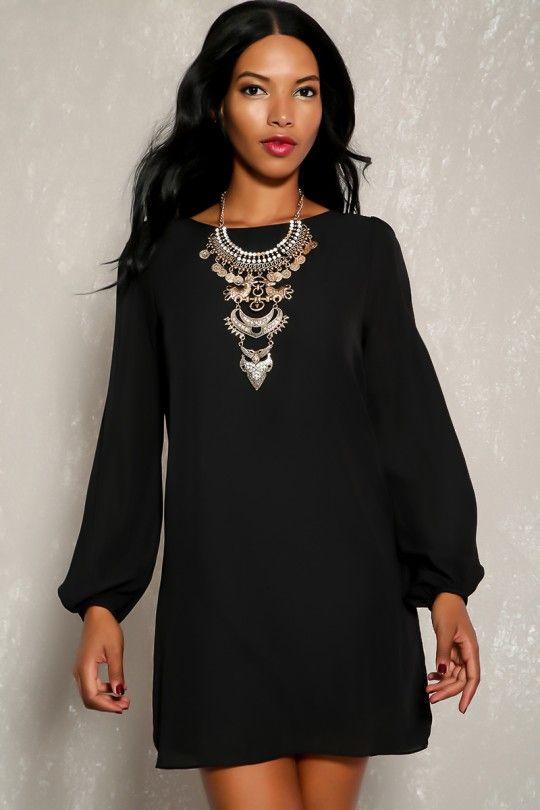 830c3e2e65 Sexy Black Sheer Long Sleeve Casual Flowy Dress