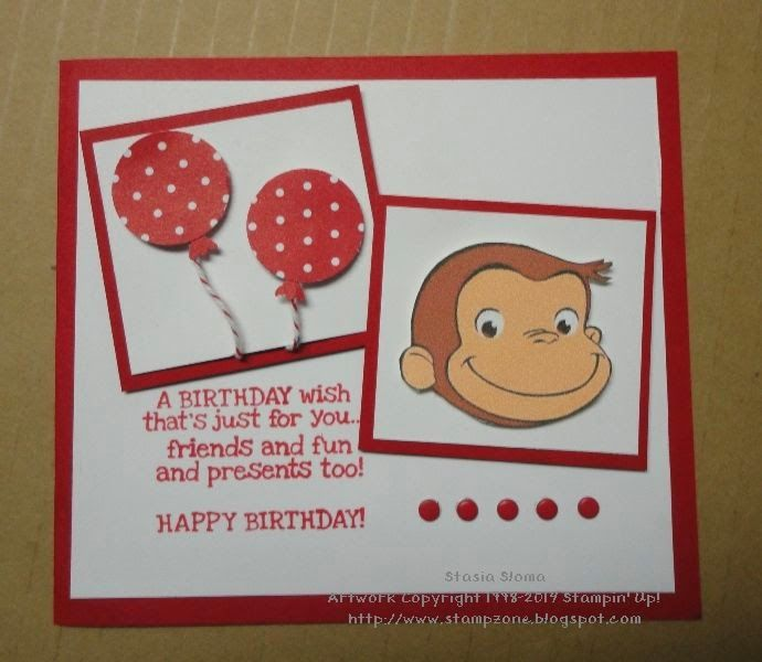Stampin Scrappin With Stasia Curious George Birthday Card