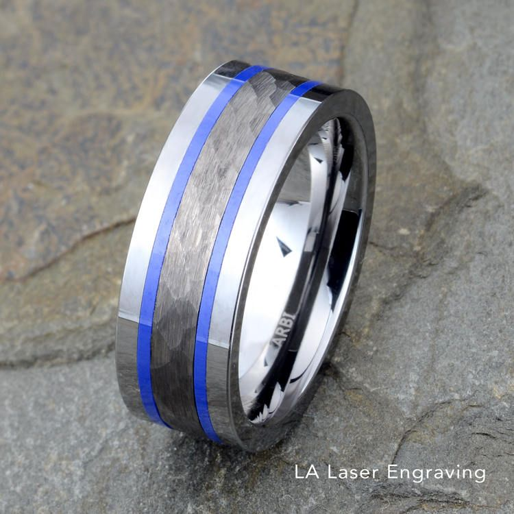 Two Tone Tungsten Ring Mens Wedding Band Blue Tungsten Ring
