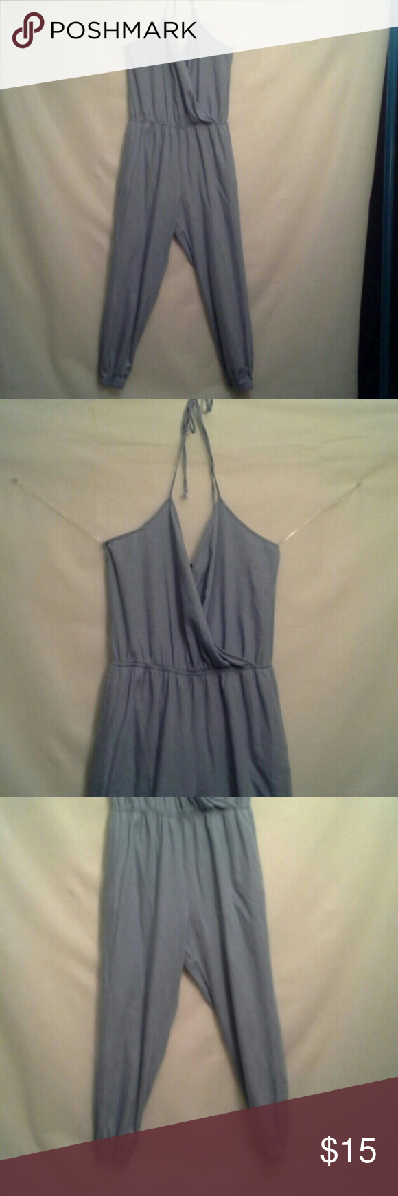 Lite Blue Halter Jumpsuit Gathered at waist and ankles. Ties around back of neck. Only worn to try on. NWOT Mimi Chica Other