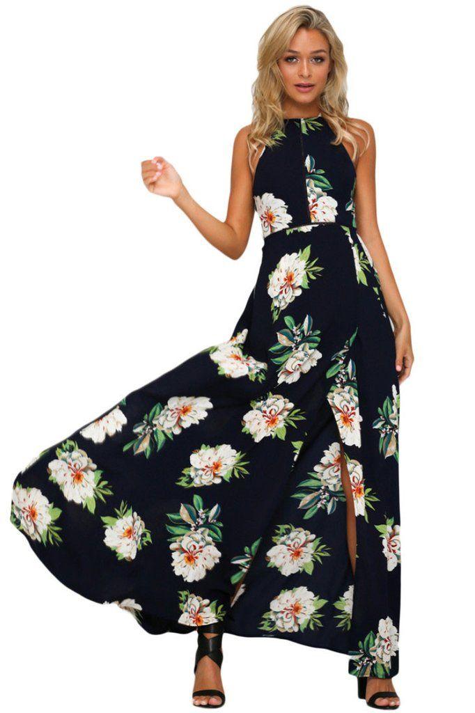a162b75e4f9 Robe Boheme Longue Fleurie Impression Noir Fendu Dos Nu MB61460-2 –  Modebuy.com